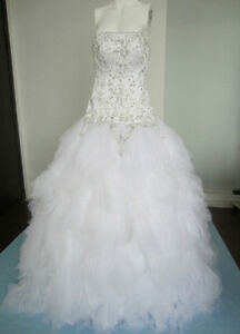 NEW! EMBROIDERED WHITE WEDDING DRESS LAYERED TULLE GOWN