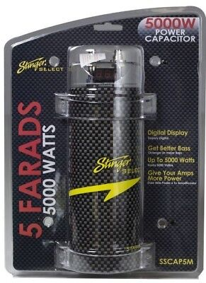 Stinger Select SSCAP5M 5 Farad Power Capacitor 12V Car Stereo Digital Power Cap (Car Stereo Capacitor)
