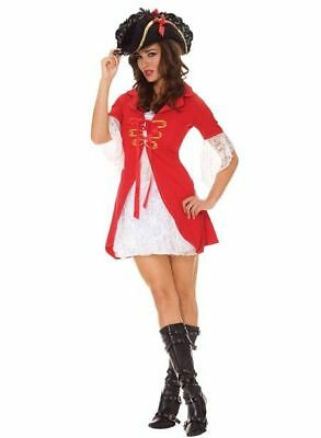 Ladies Deluxe Pirate Ship Captain Red Swashbuckler fancy jacket dress costume