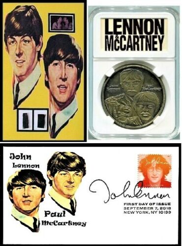 Beatles Lennon McCartney Collectors Group Owned Clothing +Coin +FDC +Guitar Pick