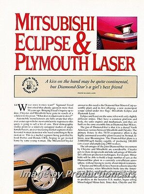 Eclipse Car Review - 1989 Mitsubishi Eclipse Plymouth Laser  Road Test Car Review Print Article J736