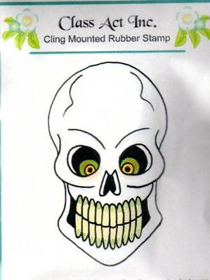 New Class Act CLing Mounted Rubber Stamp HALLOWEEN SKELTON HEAD free us - Class Halloween Crafts