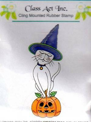 New Class Act CLing  Rubber Stamp HALLOWEEN KITTY CAT free us - Class Halloween Crafts