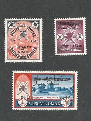 OMAN 133A-C SG 138 144/145 Rare Provisional Overprints Mint NH