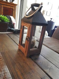 POTTERY BARN METAL WOOD LANTERN - MOVING SALE