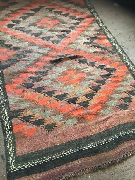 Large Red Patterned Aztec Rug Triangular Print In