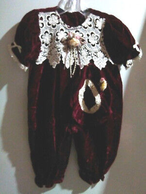 Vtg-80s-Girl-Christmas-Burgandy Velvet Lace Chic-1 pc- Outfit Jumpsuit-Hat-12 - 80s Girl Outfit