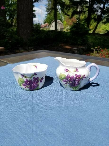 Shelley Violets Creamer and Sugar Excellent Condition