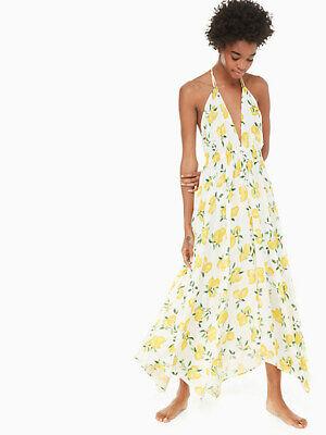 Kate Spade New York Lemon Print Halter Cover Up Maxi Dress 3222 Size XL