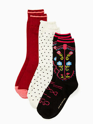 Western Boot Socken (KATE SPADE NY Western Boot Crew Socks 3-Pairs Floral, Dots, Solid  $24NWT )