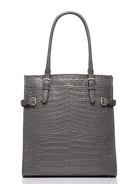 Kate Spade Vanston Gray Leather Croc Jackson Shoulder Tote Bag