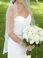 Wedding dress and veil for sale!