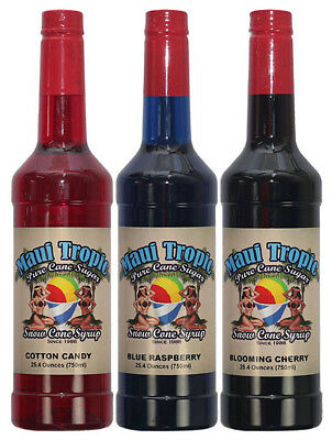 Choose Your Flavors 3 Bottles Of Snow Cone Syrup - Maui Tropic Brand