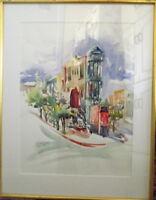 Large framed watercolor of Kensington Corner -Signed & Dated