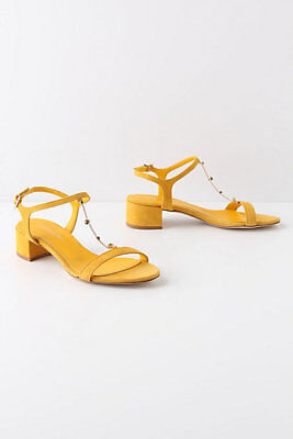 NIB $238 Anthropologie Jeweled Strand T-Straps sz 38 Euro Yellow by Marisa Rey