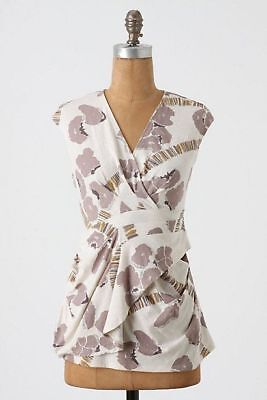 NEW Anthropologie C Keer Large From the Canvas V Neck Cotton Top