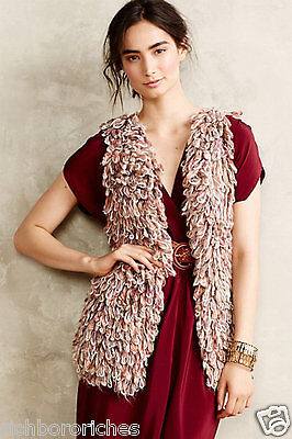 NWT Anthropologie Handknit by Dollie taupe rust Shaggy Loopy Sweater Vest XS/S