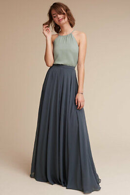 Jenny Yoo  Hampton Maxi Skirt Storm Gray Blue Chiffon NEW