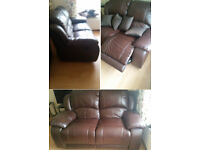 Sofa, 2 seater, extendable, leather, v. good condition