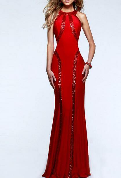 Купить Unbranded - Womens Sexy Sequins Sleeveless Long Maxi Dress Evening Ball Gown Slim HOT C907