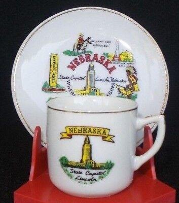 Vintage Souvenir Demitasse Cup And Saucer Nebraska State Capitol Lincoln