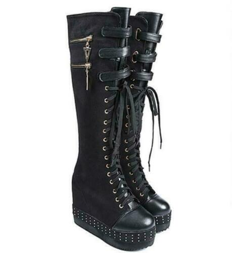 Chic Gothic Womens Wedge Platform Heels Knee High Boot Fashion Lace Up Shoes