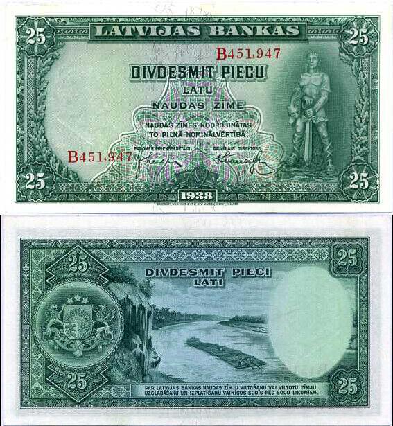 LATVIA 25 LATU 1938 P 21 AUNC ABOUT UNC