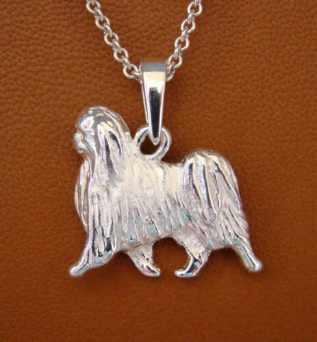 Small Sterling Silver Japanese Chin Moving Study Pendant
