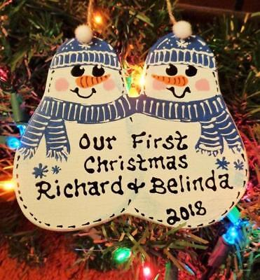 Personalize COUPLE Snowman ORNAMENT 1st Christmas U CHOOSE NAME & YEAR -