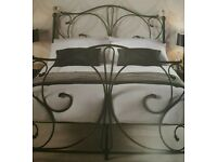 Black metal bed frame with crystal finials. S/h