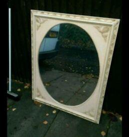 Extra large antique white mirror