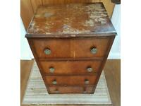 Wooden narrow chest of drawers. Upcycling project