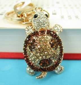 Tortoise-Red-Lovely-New-Fashion-Cute-Swarovski-Crystal-Purse-Bag-Key-Chain-Gift