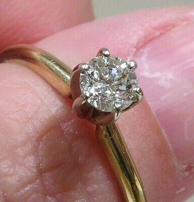 Brilliant Yellow Diamond Solitaire Ring - Brilliant 14K Yellow Gold Round 1/3 Ct Diamond Solitaire Engagement Ring Sz 8.5