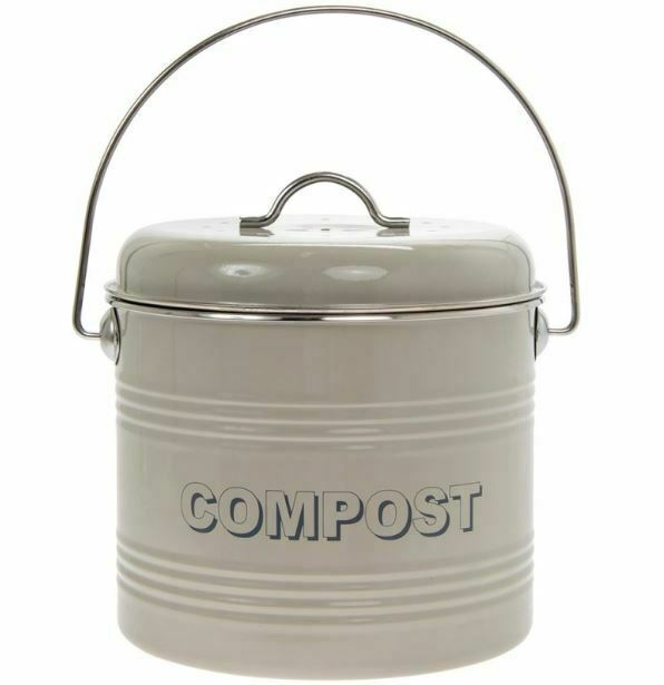 VINTAGE STYLE RETRO ENAMEL CREAM LARGE KITCHEN COMPOST TIN BIN CONTAINER NEW *