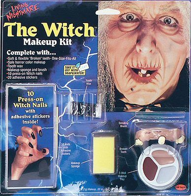 Witch Hag Old Lady Make Up Kit Halloween Face Paint Set Fancy Dress NEW P5455 - Old Lady Makeup Halloween