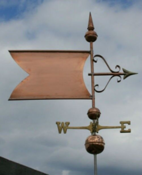 "COPPER   "" EXTRA LARGE FANCY BANNER "" WEATHERVANE  MADE IN USA #423"