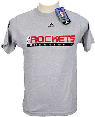 Adidas Men's NBA Basketball Houston Rockets Short Sleeve T-Shirt Shirt Top, Grey Adidas Houston Rockets Short Sleeve T-shirt