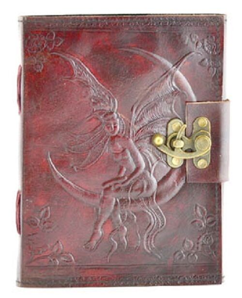 Small Latched Fairy Moon Handmade Leather Journal Grimoire (BOS)