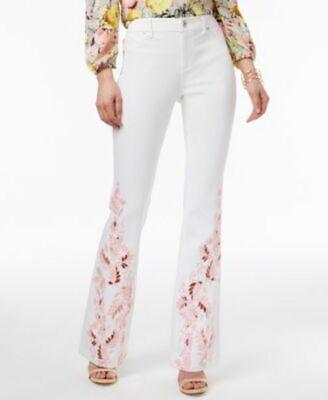 INC International Concepts Embroidered Flare-Leg Jeans White Denim 16 16 Flare Leg Jean
