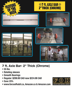 """7 ft. Axle Bar- 55 lbs 2"""" Thick- 25% off Autumn Sale"""