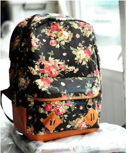 New-Women-girl-lady-Fashion-Vintage-Cute-Flower-School-Book-Campus-Bag-Backpack