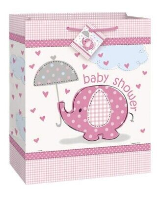 Elephant Party Supplies (Pink Baby Girl Shower Party Supplies SWEET UMBRELLA ELEPHANT LARGE GIFT)