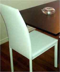 Set of 2 White faux leather dining room chairs