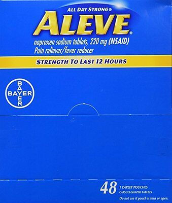 Aleve Naproxen Sodium 1 Tablets 48 Packets Pain Fever Reducer All Day Strength