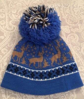 2320b529d4f Vintage 80 s Ski Beanie Knit Hat by Andre Jumbo Pom Pom Blue Deer