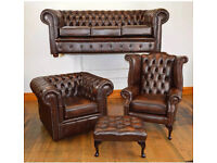 Superior deluxe royal Genuine CHESTERFIELD 3 piece suite IMMACULATE ANTIQUE LEATHER BROWN