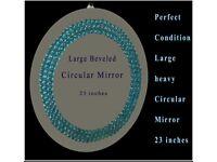 Round beveled circular mirror