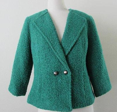 CAbi womens 8 ivy green boucle jacket lined wool blend $138 NEW #532 for sale  Spring