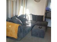 Corner sofa, cuddle chair and pouffee